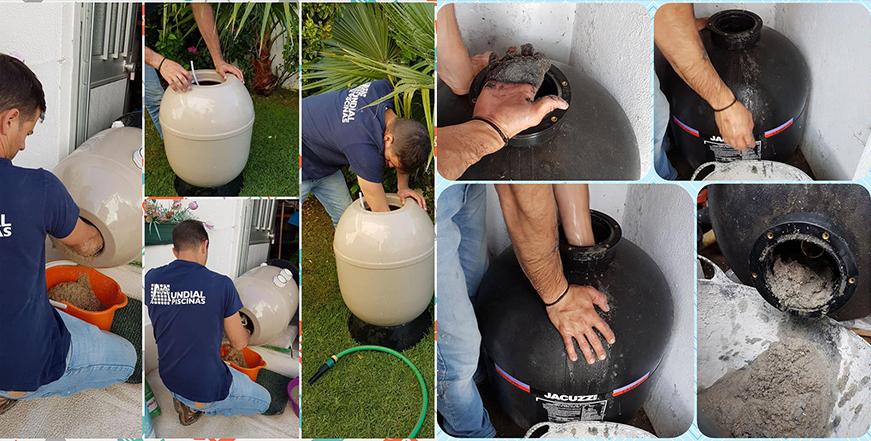 Substituição da areia do filtro